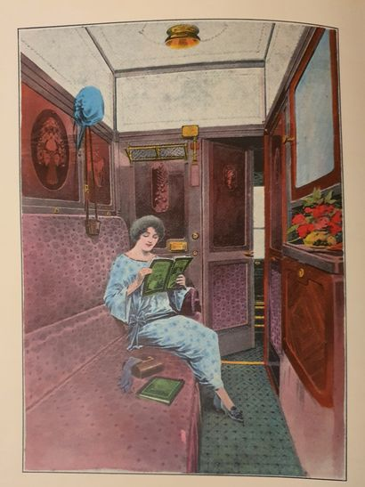 COMPAGNIE DES WAGONS - BEDS - RENÉ PROU (1889-1947)  RECTANGULAR PANEL OF A CAR...