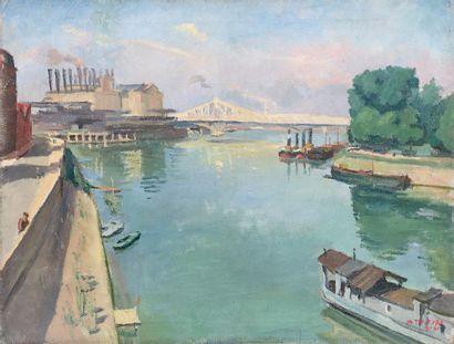 MAURICE TISSEYRE (1920-2017)  La Seine et...
