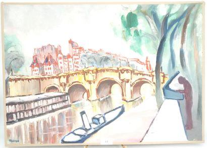 JANINE MARCA (1921-2013)  Paris, bateau lavoir...