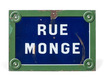 NAMEPLATE OF THE RUE MONGE, PARIS  Enamelled...