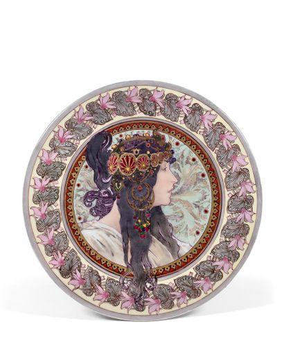 MUCHA (1860-1939) (dans le goût de)  PLAQUE...