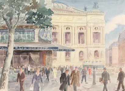 GASTON DARDAILLON (c. 1885-?)  Paris, passants,...