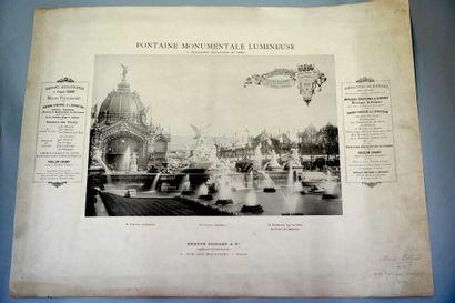 未确定的作者  1889年世界博览会上的纪念性发光喷泉。  复古摄影版画。  由建造夜光喷泉的公司Edmond...