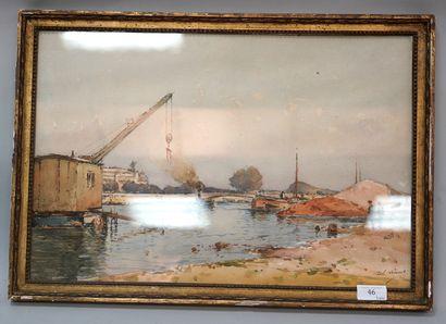 PAUL LECOMTE (1842-1920)  Paris, le pont...