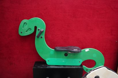 FOUR COMMERCIAL ROCKING ANIMALS  OF A PARISIAN PHARMACY  Laminated wood and plastic...