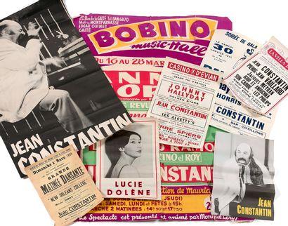 让-康斯坦丁的档案  - 让-康斯坦丁音乐会的海报,无日期。  - 埃维昂赌场音乐会的两张海报:约翰尼-哈利迪,8月16日,让-康斯坦丁,8月18和19日。...