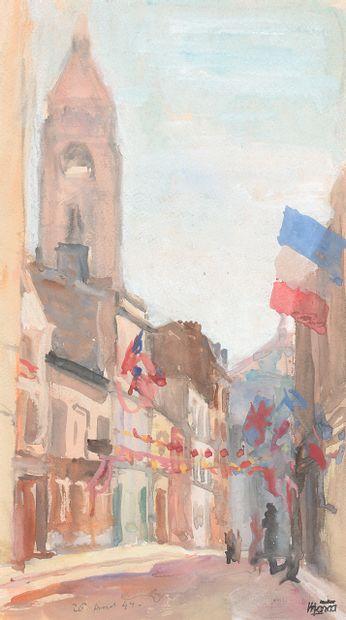 勒内-埃马纽埃尔-马尔卡(1893-1962)  1944年8月26日,巴黎,蒙马特街铺面。  纸上水彩,左下角用铅笔注明日期。  右下角的工作室印章  35.9...