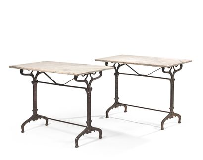 PAIR OF BISTRO TABLES  The rectangular marble...