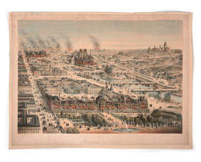 CHARLES RIVIÈRE  Panorama de Paris à vol...