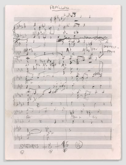 让-康斯坦丁 (1923-1997)  歌曲《Fleur de papillon》的亲笔音乐手稿...