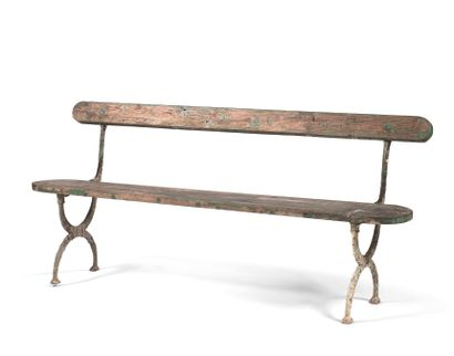 PUBLIC BENCH  Cast iron painted in green, the seat and the back constituted by a...