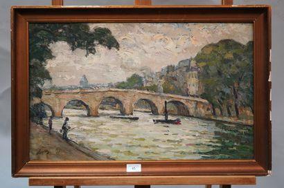 OLIVIER (XXe SIÈCLE)  Paris, le pont Marie  Huile sur toile, signée en bas à gauche....