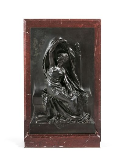 HENRI CHAPU (1833-1891)  La Pensée  Bas-relief...