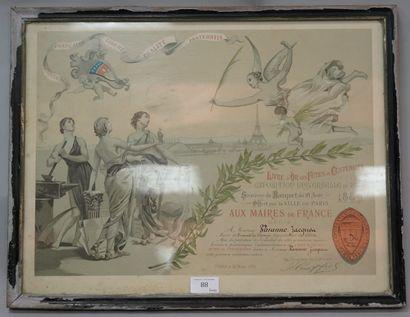 BANQUET DU 18 AOÛT 1889, EXPOSITION UNIVERSELLE,...