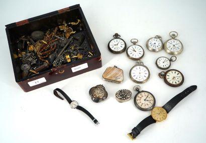 Lot de montres de gousset en métal, petit...