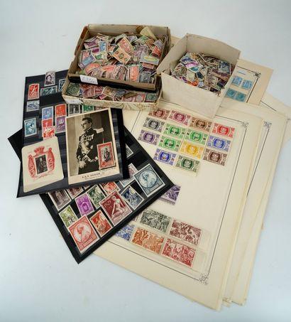 Lot de timbres dont Monaco et timbres en...