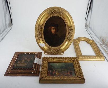 D'après REMBRANDT, portrait, huile sur carton...