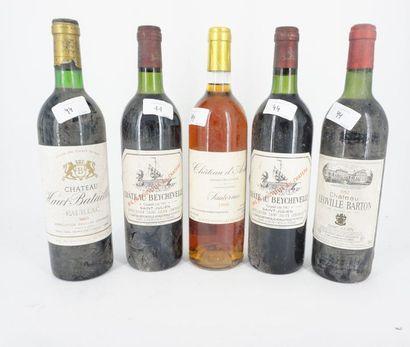 Réunion de bouteilles de vin Château Beychevelle...