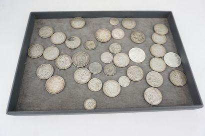 Lot de pièces de monnaie en argent, 1938,5...