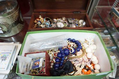 Lot de bijoux fantaisie : colliers, boucles...