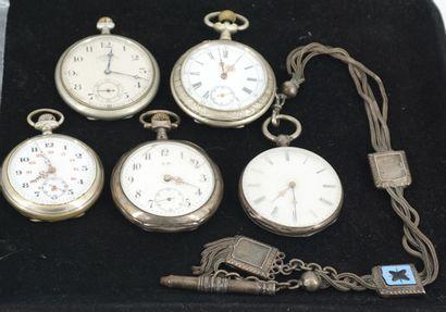 Réunion de 5 montres de gousset dont l'une...