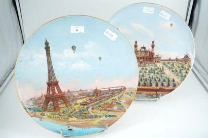 BERTIN TISSIER Paris, Deux plats en porcelaine...