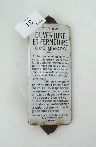 PLAQUE D'INTÉRIEUR D'OMNIBUS - Fer émaillé,...