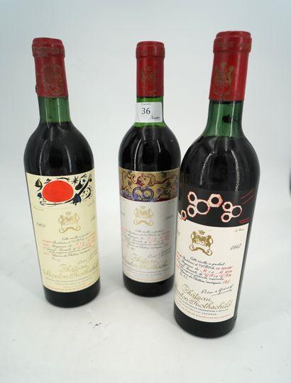 3 bouteilles PAUILLAC CHÂTEAU MOUTON ROTHSCHILD...