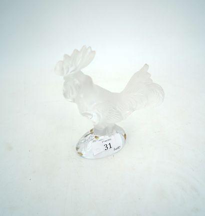 DAUM FRANCE coq en cristal moulé.