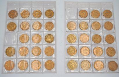 Réunion de trente-huit pièces de 20 francs...