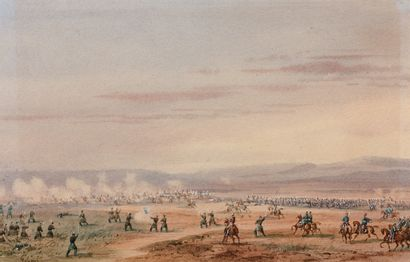 GASPARD GOBAUT (1814-1882) - Scène de bataille...