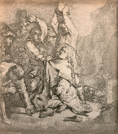 REMBRANDT VAN RIJN (1606-1669) - La Lapidation...