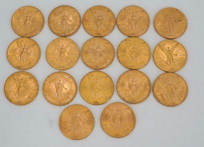 Réunion de dix-sept pièces de 50 pesos or,...