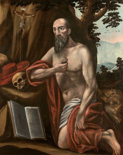 ÉCOLE ESPAGNOLE VERS 1600 - Saint Jérôme...