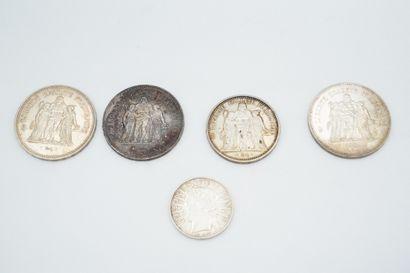 Réunion de pièces en argent : 100 francs...