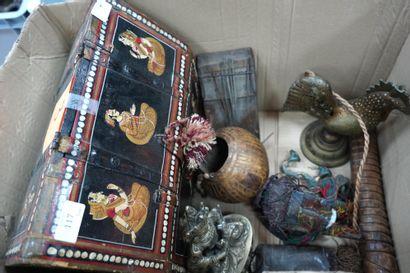 Coffret persan en bois peint, lot d'objets...