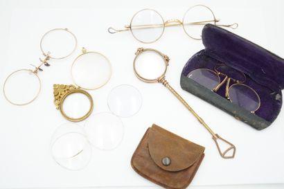 Ensemble de lunettes et binocles en métal...