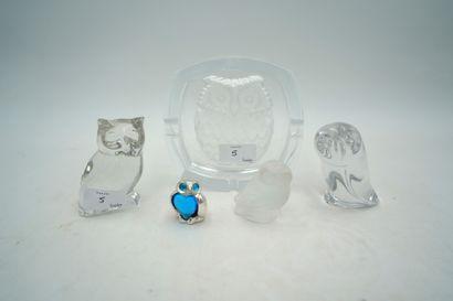 Ensemble de chouettes en cristal : Lalique,cristal...