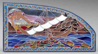 Panneau décoratif de poissonnerie parisienne,...