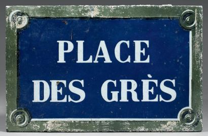 Plaque de rue parisienne en lave émaillée,...