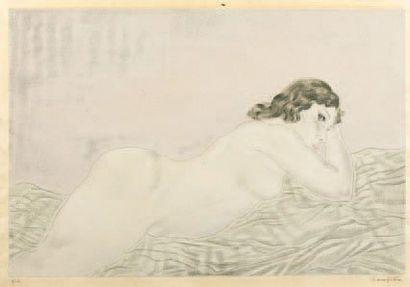 Leonard Tsuguharu FOUJITA (1886-1968) Nu allongé vers 1928-1930 Sujet 37,5 x 56 cm...