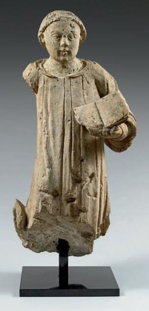 DIACRE (?) À MI-CORPS LISANT Sculpture en...