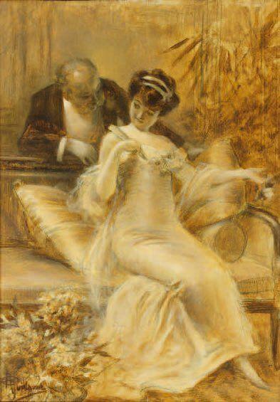 Albert-Paul GUILLAUME (1873 - 1942) La Promesse. Huile sur panneau, signée en bas...