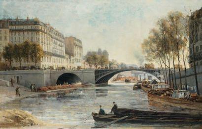 Gustave MASCART (1834 - 1914) La Seine, Port des Célestins, à la tombée du jour,...