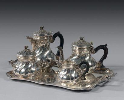 Service à thé-café en argent de forme marabout,...