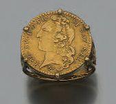 Louis d'or au bandeau, 1742, monté en bague,...