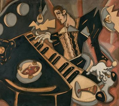 Ernesto (né en 1960) Concert de jazz, le fumoir, 1980 Importante huile sur toile...
