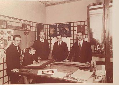 COMPAGNIE DES WAGONS-LITS RENÉ PROU (1889-1947) SUITE DE TROIS PANNEAUX RECTANGULAIRES...