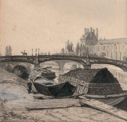 École FRANÇAISE du début du XIXe siècle Le Port Malaquais, le Pont des Arts, 1837...