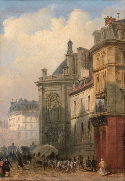École FRANÇAISE du début du XIXe siècle Abside de l'église Saint-Eustache, vue de...